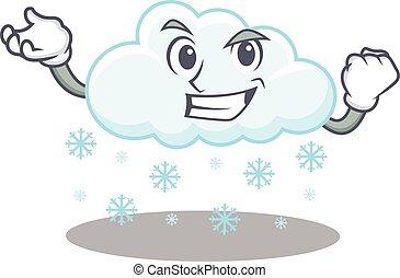 feliz, diseño, cara, nube, mascota, deslumbrante, nevoso, ...