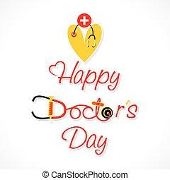 feliz, diseño, día, doctor