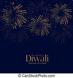 feliz, diwali, diseño, plano de fondo, fuego artificial, fiesta, celebración