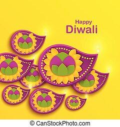feliz, diwali, feriado, papel, bandeira, com, diya, lâmpada, rangoli, e, marigold, flower., indianas, festival, poster., origami, arte, decoração, de, house., sikh, swanti, tihar.