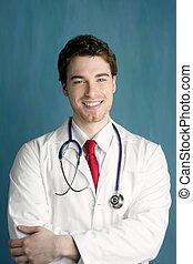 feliz, doutor, homem jovem, sorrizo, macho, bonito