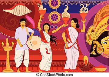 feliz, durga, puja, festival, fundo, kitsch, arte, índia