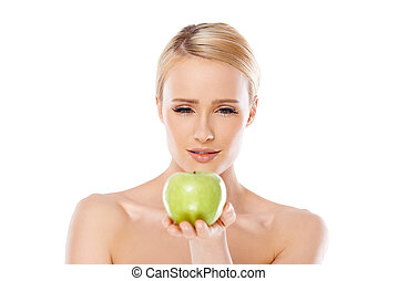 feliz, e, mulher saudável, segurando, maçã