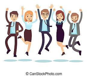 feliz, e, sorrindo, trabalhadores, pessoas negócio, pular, apartamento, vetorial, caráteres