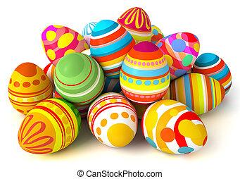 feliz, easter., pilha, de, ovos