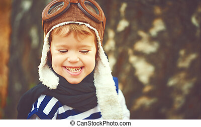 feliz, el jugar del niño, piloto, aviador, aire libre, en, otoño