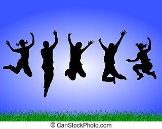 feliz, el saltar de la gente