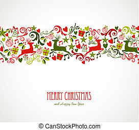 feliz, elementos, decorações natal, border.