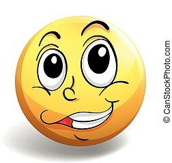 feliz, emblema, cara redonda