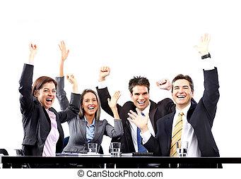 feliz, empresarios, equipo