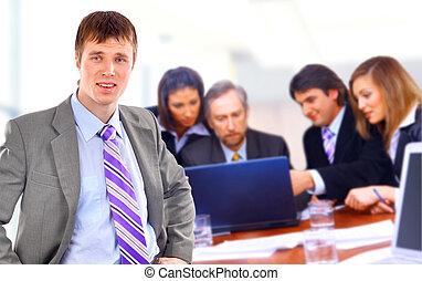 feliz, empresarios, sentado, consecutivo