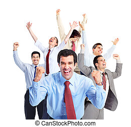 feliz, empresarios, team.
