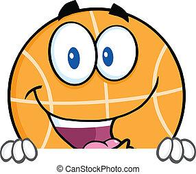 feliz, encima, baloncesto, señal, blanco