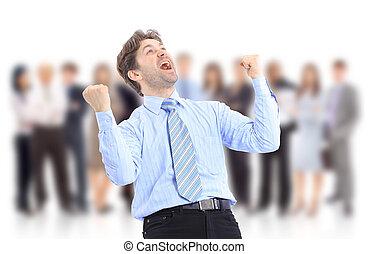 feliz, energético, hombre de negocios