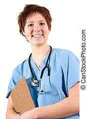 feliz, enfermeira