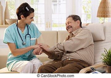 feliz, enfermeira, e, idoso, patient.