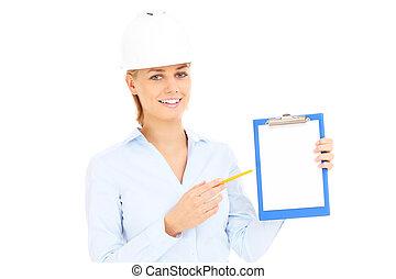 feliz, engenheiro, com, documentos