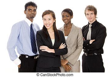 feliz, equipe negócio