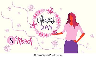 feliz, esboço, mulher, março, fundo, grinalda, personagem, saudação, dia, mulheres, conceito, 8, femininas, segurando, floral, retrato, horizontais, feriado, branca, cartão, celebração