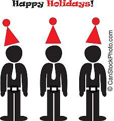 feliz, escritório, ilustração, feriados