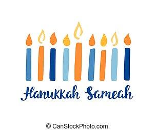 feliz, escrito, mano, cepillo, letras, hanukkah