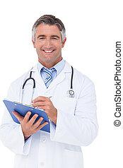 feliz, escritura doctor tablilla sujetapapeles