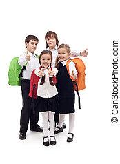 feliz, escuela primaria, niños, -, aislado