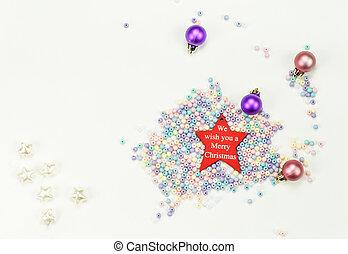 feliz, estrelas, contas, estrela, seis, novo, brinquedos, composition:, 4, fundo, ano, 2019, branca, feriado, natal