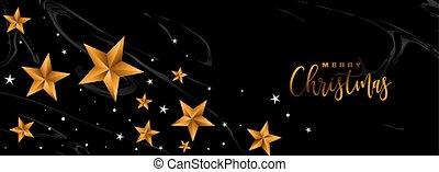 feliz, estrelas, natal, bandeira, dourado, pretas