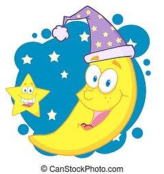 feliz, estrella, luna