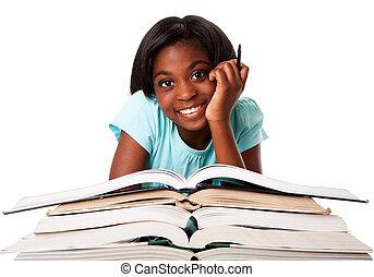 feliz, estudante, com, dever casa