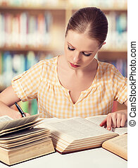 feliz, estudante, leitura menina, livros