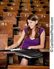 feliz, estudante, notas levando