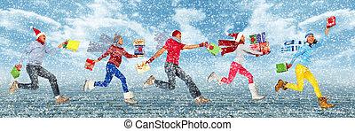 feliz, executando, gifts., natal, pessoas