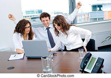 feliz, exitoso, equipo negocio