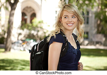 feliz, faculdade, menina