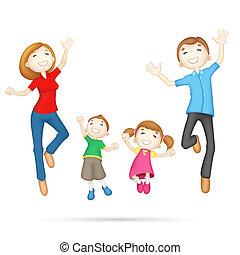 Feliz, família,  3D