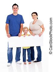 feliz, família jovem, com, bandeira