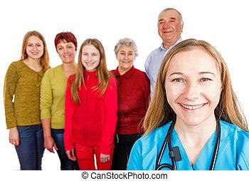 feliz, família jovem, doutor