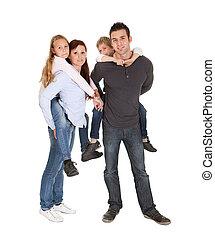 feliz, família jovem, gastando, tempo, junto