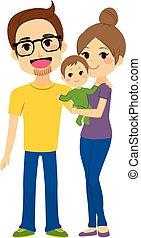 feliz, família jovem, prendendo bebê