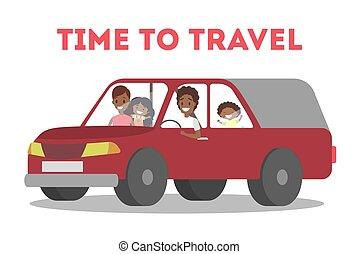 feliz, familia americana africana, en el coche
