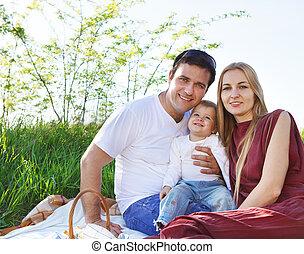 feliz, familia joven