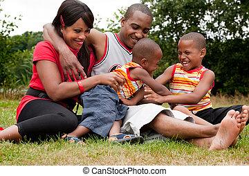 feliz, familia negra, el gozar, su, libre, día