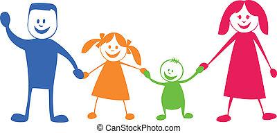 feliz, family., caricatura, ilustração