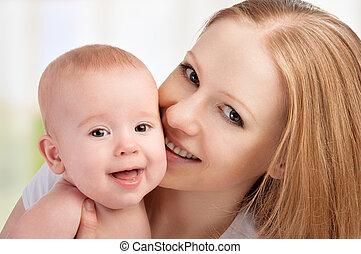 feliz, family., madre y bebé