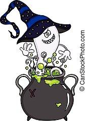 feliz, fantasma, em, dia das bruxas, cauldron