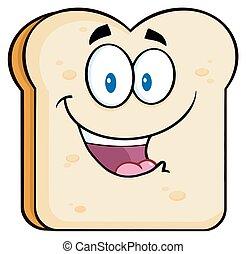 feliz, fatia, personagem, pão
