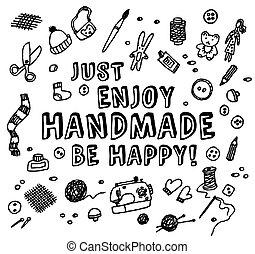 feliz, feito à mão, preto branco, cartão