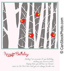 feliz, feriado, con, árboles